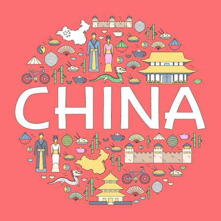 Country China travel vacation guide of goods, places and features. Set of architecture, fashion, people, items, nature background concept. Infographic template design.