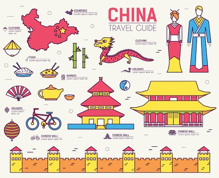 Country China travel vacation guide of goods, place and feature. Set of architecture, fashion, people, item, nature background concept. Infographic traditional ethnic flat, outline, thin line icon