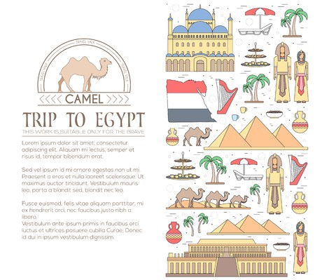 Country Egypt travel vacation guide of goods, places and features. Set of architecture, people, culture, icons background concept. Infographics template design for web and mobile. On thin lines style. Illustration