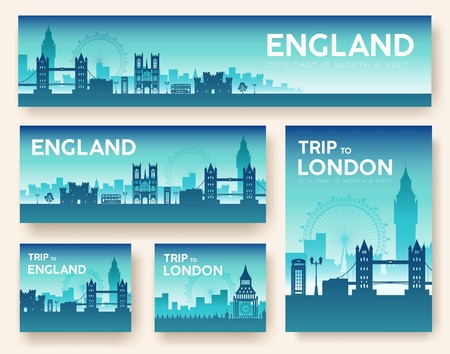 Set of England landscape country ornament travel tour concept. Culture traditional, flyer, magazine, book, poster, abstract, element. Vector decorative ethnic greeting card or invitation design . Stock Illustratie