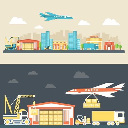 Équipement logistique plat et concept de fond de service de livraison. Illustration vectorielle pour modèle coloré pour votre conception, applications Web et mobiles Vecteurs