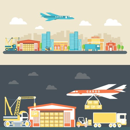 Flat logistic equipment and delivery service background concept. Vector illustration for colorful template for you design, web and mobile applications Иллюстрация