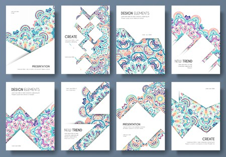 Abstract vector brochure cards set. Outline art template of flyer, magazines, posters, book cover, banners. Colorful thin line invitation concept background. Layout ornament illustrations modern design. Illustration