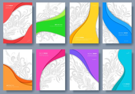 Abstract vector brochure cards set. Art template of flyear, magazines, posters, book cover, banners. Colorful design invitation concept background. Layout ornament illustrations modern.