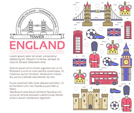 Country England travel vacation guide of goods, places in thin lines style design. Set of architecture, people, sport, icons background concept. Infographics traditional ethnic flat icon