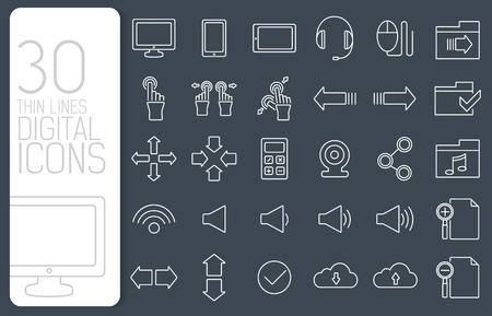 thin line digital gadget set icons concept. Vector illustration design.