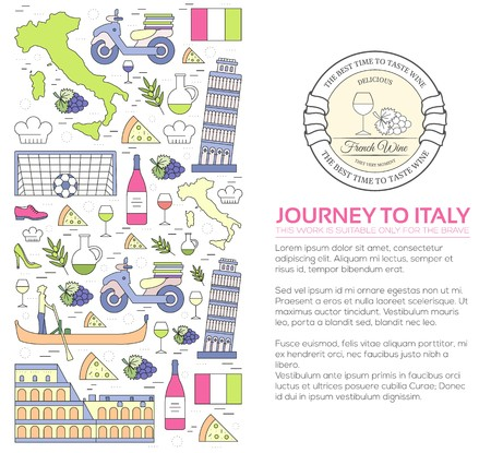 Country Italy travel vacation guide of goods, places and features. Set of architecture, fashion, people, items, nature background concept. Infographic template design for web and mobile on thin lines. Illusztráció