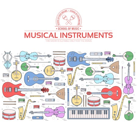 Music instruments on modern wall concept. Icons design for your product or design, web and mobile applications. Vector flat with long shadow illustration background. Banque d'images - 126887564