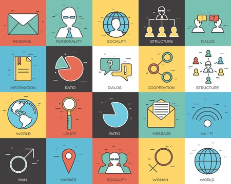 thin line social set icons concept. Vector illustration design. Vettoriali