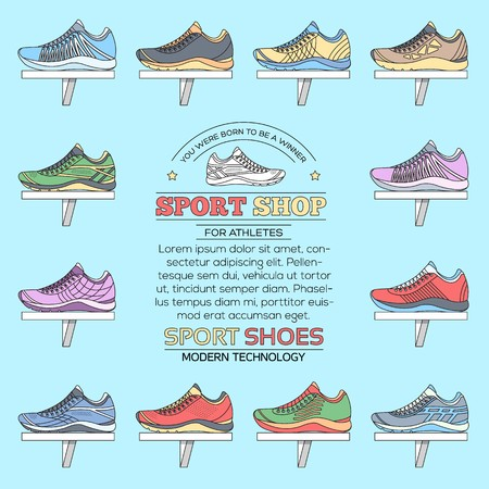 flat illustration collection set of sneakers running, walking, shopping, style backgrounds. Vector concept elements icons. Colorful template for you design, poster, web and mobile applications.