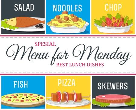 Various food dishes menu concept. Vector illustration design.