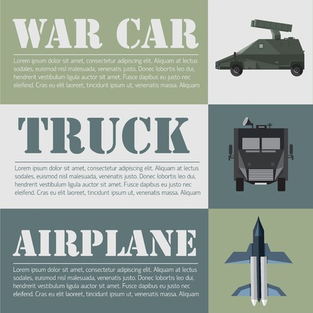 flat military transport set design concept. Vector illustration infographic