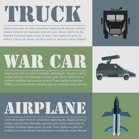 flat military transport set design concept. Vector illustration infographic