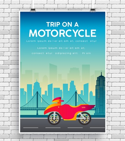 Motorcycle picture on road icon. design poster on brick wall  イラスト・ベクター素材
