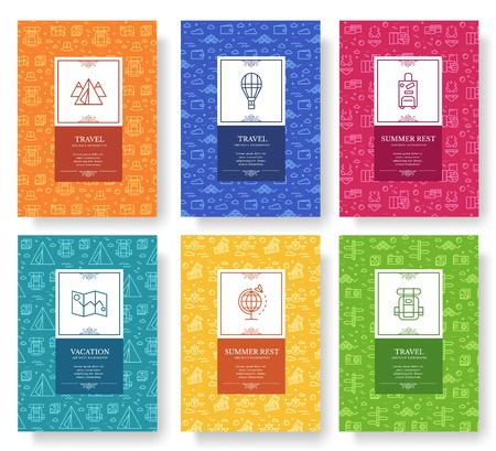 Set of thin line travel pattern concept. Art traditional, magazine, book, poster, abstract, banners, element. Vector outline package greeting card or invitation design background.