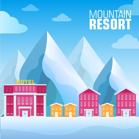 flat resort mountain concept backgrounds. Vector illustration template design. Ilustração