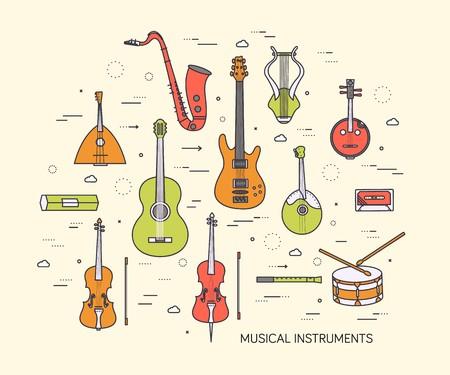 flat music instruments background concept. Vector illustrator design in retro style bright colors. Векторная Иллюстрация