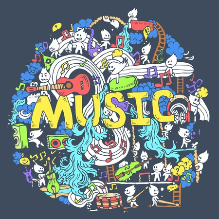 Abstract musical art with funny creatures hand draw background design. Vector illustration concept .