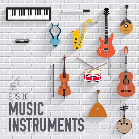 Music instruments on modern brick wall concept. Icons design for your product or design, web and mobile applications. Vector flat with long shadow illustration background. Banque d'images - 125944554