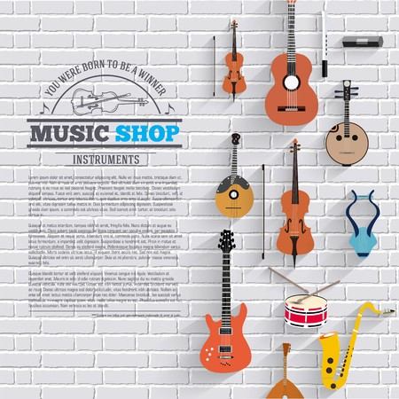 Music instruments on modern brick wall concept. Icons design for your product or design, web and mobile applications. Vector flat with long shadow illustration background. Banque d'images - 125944561