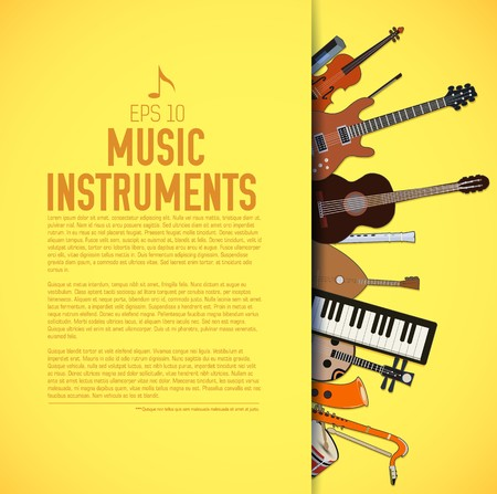 flat music instruments background concept. Vector illustrator design Stock Illustratie
