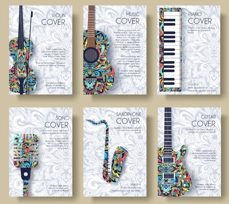Music magazine layout flyer invitation design. Set of musical ornament illustration concept. Art instrument, poster, book, abstract, ottoman motifs, element. Decorative ethnic greeting. Stockfoto - 125944564