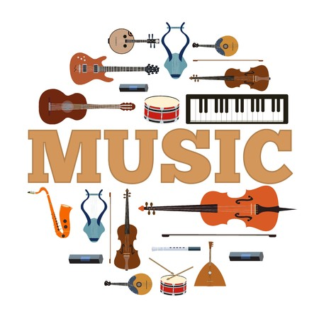 Music instruments circle infographics template concept. Icons design for your product or design, web and mobile applications. Vector flat illustration background.  イラスト・ベクター素材