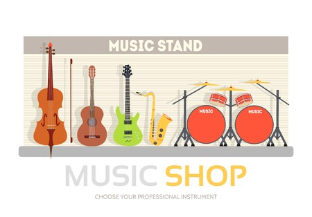 Music shop in flat design background concept.  Stand with musical instruments collection set. Icons for your product or illustration, web and mobile applications.