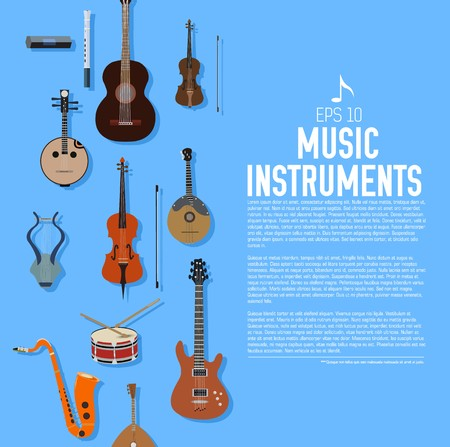flat music instruments background concept. Vector illustrator design in retro style bright colors. Stock Illustratie