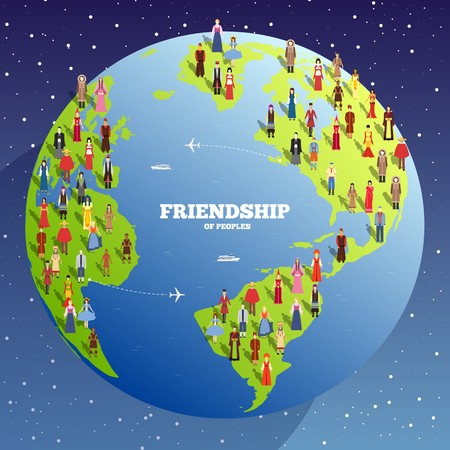 People Friendship. International Day of the World Indigenous Peoples. Vector flat circle concept illustration concept background. Vettoriali