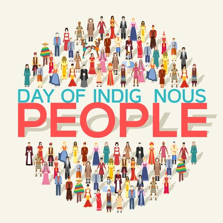 People Friendship. International Day of the World Indigenous Peoples. Vector flat circle concept illustration concept background.  イラスト・ベクター素材