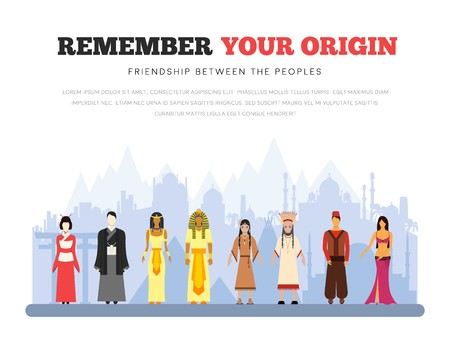 People Friendship. International Day of the World Indigenous Peoples. Vector flat illustration concept background.
