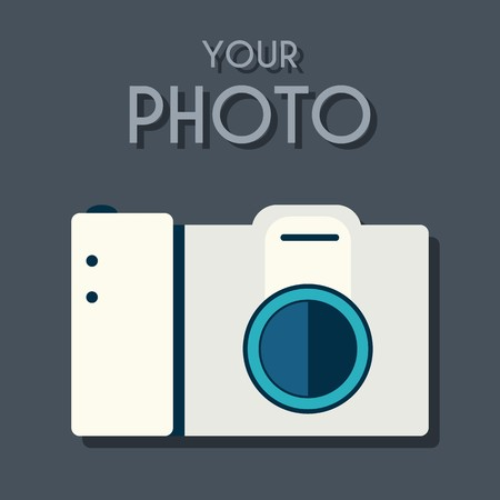 Flat photo camera with a long shadow on the background with the slogan. Vector illustration concept design.