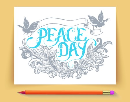 Greeting card for the holiday Peace day. Calligraphy with abstract decor ornament illustration. Template for invitation background .