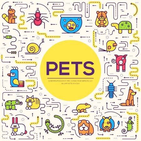 Animal flat thin line illustration icons set. Outline cute home pets on isolated background. Different collection domestic wildlife objects concept design .