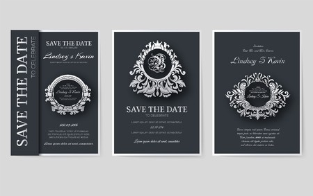 Set of luxury flyer pages set with logo ornament illustration concept. Vintage art traditional, Islam, arabic, indian, book, elements. Vector layout decorative retro greeting card or invitation design. Vettoriali