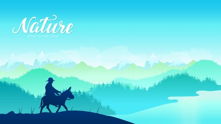 Silhouette donkey rider on mountainat sunset design. Traditional mule riders at  Central Asia, Kyrgyzstan, west country background Иллюстрация