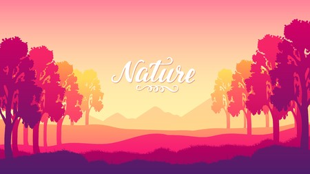 silhouettes with beautiful trees at sunset of the day design concept. The sun rays illuminate background