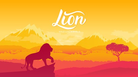 The Lion King of Animals is viewing his possessions illustration. Wild animal against the background of nature africa concept. Wild animal in the savannah. Illustration