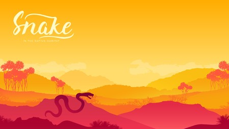 Snake climbed out to bask in the sun background. Dangerous predator in the desert traces a victim design. Reptile to prepare for attack illustration Ilustração