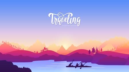 travel in use a kayak illustration. Travel active sport adventure concept design. lifestyle in nature for those who love movement Ilustração