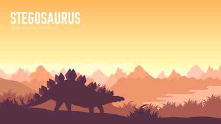 Earth BC landscape scene illustration. Before our era earth design. Dinosaur stegosaurus in its habitat background. Jungle prehistoric creature in nature