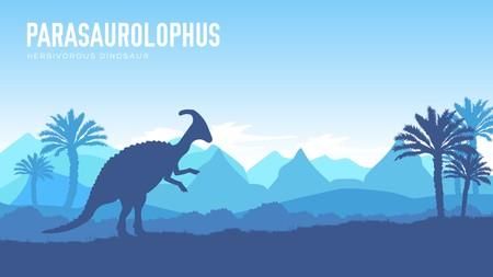 Earth BC landscape scene illustration. Before our era earth design. Dinosaur Parasaur in its habitat background. Jungle prehistoric creature in nature