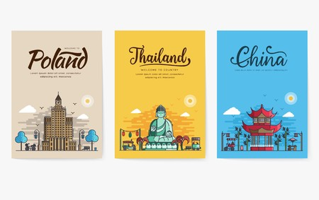 Set of outline different cities for travel destinations. Landmarks banner thin line of flyer, magazines, posters, book cover, banners. Layout world architectural flat illustrations modern
