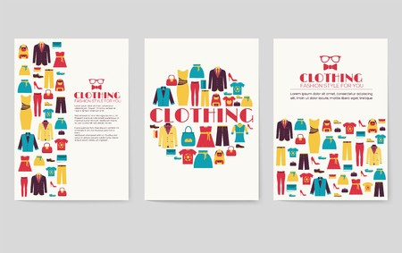 Clothes vector brochure cards set. Print art template of flyear, magazines, posters, book cover, banners. Colorful design invitation concept background. Layout shop illustrations modern