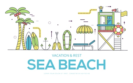 Seabeach with items for summer activities vector outline concept. Different equipment for summer activities on seashore.  thin line illustration Ilustração