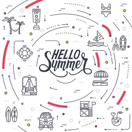 Summer vacation circle concept in thin lines style design. Beach umbrella, lifebuoy, diving, equipment, towel, ocean, supplies, landscape. Vector abstract template for greeting card or invitation Vektoros illusztráció