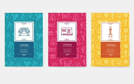 Set of thin line cinema vacation pattern concept. Art traditional, magazine, book, poster, abstract, banners, element. Vector outline package greeting card or invitation design