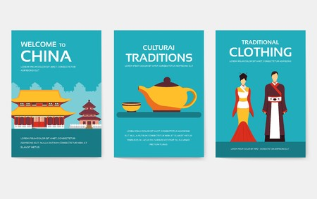 Set of China country ornament travel tour concept. Asian traditional, magazine, book, poster, abstract, element. Vector decorative ethnic greeting card or invitation design