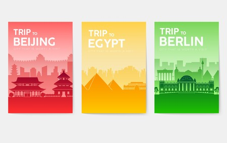Travel information cards. Landscape template of flyear, magazines, posters, book cover, banners. Country of England, China, Germany, India, Japan USA France and Egypt set Layout city